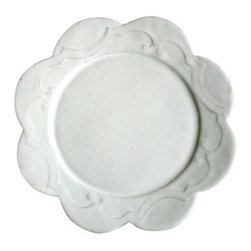 """ASTIER DE VILLATE - Marthe Dinner Plate by Astier de Villatte - Astier de Villatte ceramics are entirely handmade in Paris, France. Made of black terracotta clay, the pieces are extremely durable yet surprisingly light to the touch making them perfect for everyday use. The namesake tableware collection is inspired by 18th and 19th century designs and is glazed to create a milky white finish. Hand wash only.10.75"""" diameter"""