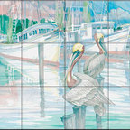 The Tile Mural Store (USA) - Tile Mural - Pelican Dock - Kitchen Backsplash Ideas - This beautiful artwork by Paul Brent has been digitally reproduced for tiles and depicts two pelicans hanging out at the docks.  Tile murals with ships and decorative ship tiles are timeless and are excellent to add to your kitchen backsplash tile project or your tub and shower surround bathroom tile project. Images of ships on tiles and pictures of sailboats on tiles add a unique element to your tiling project and are a great kitchen backsplash idea for a coastal home. Use a decorative tile mural of ships and boats for a wall tile project in any room in your home where you want to add interest to a plain field of wall tile. Bathrooms always look best with the addition of decorative wall tiles so why not add a tile mural with the image of a ship?