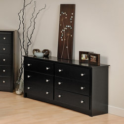 None - Broadway Black 6-drawer Dresser - Increase storage space and add stylish class to the look of any bedroom with this versatile black six-drawer dresser. The brushed nickel hardware and elegant black finish are the perfect accompaniments for your modern bedroom collection.