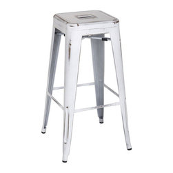 """Office Star - Office Star Bristow 30"""" Antique Metal Barstool in Antique White - Set of 2 - Office Star - Bar Stools - BRW3030A2AW - Unique, modern metal chair that will get your guests talking for months. Stop playing safe and get ready to wow the crowd. These metal chairs are designed to be make your feel special. Backless design for simplicity and easy storage. Place this chair anywhere in your lovely home to receive instant compliment."""