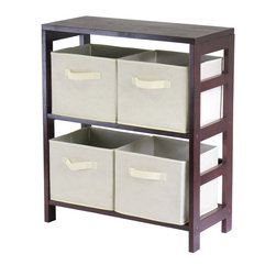 Winsome - Winsome Leo 2-Section Wide Storage Shelf with 4 Foldable Beige Fabric Baskets - Winsome - Storage Cabinets - 92861 - Winsome Leo 2-Section wide storage shelf in espresso. Its two sections hold the espresso large storage basket or two small storage baskets perfectly. Mix and match with the other espresso storage shelves.