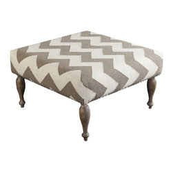 "Surya - Ivory and Taupe Chevron Ottoman by Surya - The sharp contrast of a taupe and beige chevron pattern is woven of 100% wool and upholstered around a wood base. Elevated on four shapely legs, this can be used as additional seating or as a table because of its flat surface. Add a great tray for serving or display. (SY) 32"" square x 18"" high"