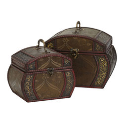 Nearly Natural - Nearly Natural Decorative Chests (Set of 2) - Take a moment to admire the intricate design work on both boxes. Notice the curved abstract floral designs on the side set against the dark olive background, while the middle is a detailed floral pattern separated by vivid wine colored segmented trim. And to top it off, they come with an intricately designed handle and a clasp to secure belongings. Have you ever seen something so elegant?