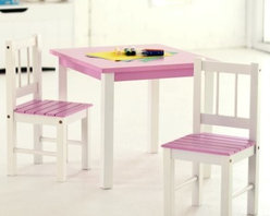 Lipper Kids Small Pink and White Table and Chair Set - Little girls will get big enjoyment from this Small Pink/White Table and Chair Set made to order for pint-size princesses. Short legs don't need to stretch to reach this scratch-resistant tabletop when it's time for tea and the comfy chair will be her favorite spot to sit with her favorite book or doll. The bright white legs capped with a soft pastel pink chair seat and tabletop give a feminine touch to your nursery or playroom and the set is easily cleaned with child-safe mild soap and water. Table dimensions: 22L x 20.5W x 18.75H inches. Chair dimensions: 10.5L x 10.75W x 23H inches. About Lipper InternationalLipper International provides exceptionally valued kitchen home & office organizers including the Soho Spice Collection; single serve coffee pod organizers; kitchen pantryware cutting boards and tools; serving & entertaining accessories; and children's furniture and toy chests. Lipper uses the finest quality materials including stainless steel bamboo acacia wood chrome- and powder-coated metals and other fine quality hard woods. Known for product functionality as well as beauty and quality craftsmanship Lipper International combines quality style service and price into every product and collection it offers.
