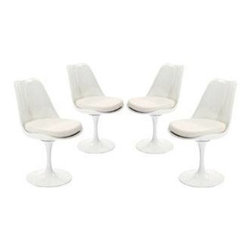 "LexMod - Lippa Dining Side Chair Set of 4 in White - Lippa Dining Side Chair Set of 4 in White - The Lippa Side Chair adds the perfect modern classic touch to any dinning space. Sturdy, easy to clean and lovely to behold, these chairs elevate a meal to whole new levels of enjoyment. Available in an array of colors, the Lippa Chair makes it easy to express your individual style. Set Includes: Four - Lippa Side Chair ABS Plastic Seat, Aluminum Base, Cloth Cushions Overall Product Dimensions: 21""L x 20""W x 32.2""H Seat Height: 19""H - Mid Century Modern Furniture."