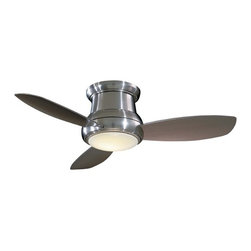 Minka Aire Fans - 44-Inch Hugger Ceiling Fan with Three Blades and Light Kit - F518-BN - This Concept II ceiling fan is simple in style and exceptionally functional. A soft illumination is emitted from the 100-watt center light. It is ideal for low ceiling environments and includes a full-function, hand-held remote control. The brushed nickel finish and 44-inch silver blades combine for a truly tasteful design. A light cap is included for non-light use. Takes (1) 100-watt halogen T4 bulb(s). Bulb(s) sold separately. Dry location rated.