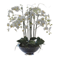 Winward Designs - Phalaenopsis In Glass Flower Arrangement - Everyone loves the elegance of an abundant orchid, but not everyone has the patience to care for them. Why not invest in a permanent version of this hot-house flower? It's sure to hold its beauty throughout the seasons.