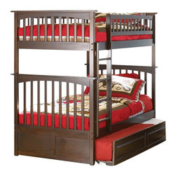 Atlantic Furniture - Atlantic Furniture Columbia Twin over Twin Bunk Bed in Antique Walnut - Atlantic Furniture - Bunk Beds - AB55104 -  The Atlantic Furniture Columbia Twin over Twin Bunk Bed has a clean modern look with subtle Mission styling. The simple lines of the head and foot boards have the square posts and slats characteristic of this design. This versatile bunk bed is available in a number of options that is sure to please both you and your child. Features: