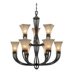 Golden Lighting - RT Roan Timber Genesis 9 Light ChandelierOrigins Collection - Lamping Technology: