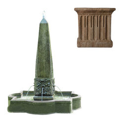 Campania International - Palazzo Obelisk Fountain - Aged Limestone (AL) - Shipping is available throughout the continental United States. As these fountains are made to order, please allow 4 to 6 weeks for delivery. Drop ship is curbside delivery only.  And finally: Campania has other finishes, these are just the ones that Potted likes best.