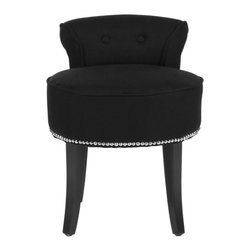Safavieh - Eve Accent Chair - The adorable Eve vanity chair is petite enough to tuck in a bathroom or bedroom, and brimming with feminine style. Graceful birch wood legs finished in espresso, deep seat and diminutive button tufted back are designed for indulgent comfort. Upholstered in black linen with self-welting and silver nail head trim for a decorator touch.