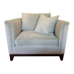 Pale Blue Velvet Chair with Nailhead Trim - $899 Est. Retail - $599 on Chairish.