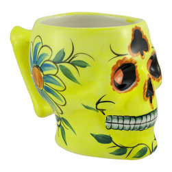 Zeckos - Yellow Ceramic Day of the Dead Sugar Skull Coffee Mug Dod - This ceramic mug is an excellent addition to your collection. It is shaped like a skull and is carefully hand painted with colorful flowers and designs in the fashion of a day of the Dead sugar skull. The mug is 4 1/4 inches tall, 6 1/4 inches long (including the bone shaped handle), 3 3/4 inches wide, and holds 12 ounces of your favorite beverage. It makes a great gift for skull lovers, and is a lovely accent to your morning routine.