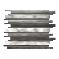 Long Random Bar Aluminum Tile - Silver Pewter And Chrome Sample