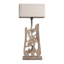 ParrotUncle - Handcrafted Decorative Wooden Table Lamp For Living Room - The table lamp transforms partially pieces of forest wood into a sculptural work of art. Creative driftwood lamps with engraving art
