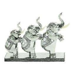 "Benzara - Three Elephant Feet Up Statue in Polystone - Three elephant feet up statue in polystone. The elephant statue is made in Polystone. Size: 12""W x 9""H."
