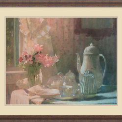 Amanti Art - Breakfast Framed Print by Laura Coombs Hills - A warm pot of tea, fresh flowers and the morning sun; this charming still life by Laura Coombs Hills makes the ideal decor accent for any breakfast nook or kitchen.