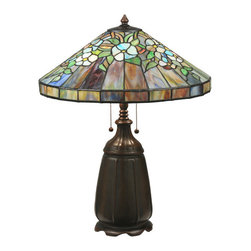 """Meyda Tiffany - 24""""H Handel Dogwood Table Lamp - Grace a home, hotel, restaurant or shop with the floral elegance of this exquisite antique reproduction design. See the brilliance of Master Artist Philip Julius Handel, the famed lamp designer renowned for unique and diverse glass innovations, come alive with this lamp. Individual pieces of Blue, Purple and Green stained glass, accented with Yellow/Blue and White flowers, highlight the shade. Hand finished in a handsome Mahogany Bronze. Energy efficient bulb options  available. Custom designs, colors and sizes available. Custom designs, colors and sizes offered."""