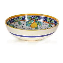 "Ceramic - Umbria - Italian Lemons Serving Bowl - Italian Lemons 11.5"" Ceramic Serving Bowl"