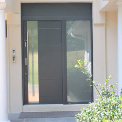 Modern Stainless Steel Front Door - Private residence in Woodbury NY.