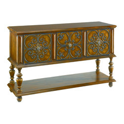 Hammary - Hammary 090-306 Hidden Treasures Poplar Console Table - Intricate and fashionable in design, this console table is a smart addition to a multitude of locations in your home. This console table features elegant contoured designed accents with a lower shelf, and turned legs supporting three upper drawers, all completed in a warm medium brown finish. This piece is unique, fashionable and functional, as an addition to your home.