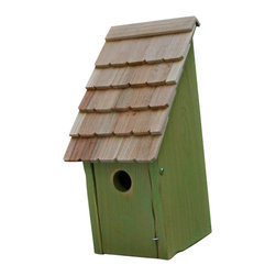 Heartwood - Bluebird Bunkhouse Bird House Green Apple - This  exquisite  bird  house  is  the  perfect  addition  to  any  home  or  garden  of  your  choice.  Round  up  a  pleasing  posse  of  America's  favorite  songbirds  with  this  classic  Bluebird  Bunkhouse,  beautifully  simple  in  design  and  ruggedly  built  with  front  opening  for  easy  cleaning.  Truly  American  (they  range  only  on  the  American  continent),  bluebirds  suffered  a  decline  in  the  last  century  after  the  introduction  of  European  starlings  and  house  sparrows,  larger  competitors  that  steal  bluebird  nest  holes.  Thanks  to  bluebird  trails  and  other  efforts,  bluebirds  have  made  a  comeback;  if  you'd  like  to  be  sure  to  prevent  any  rustling  on  your  range,  simply  place  two  Bunkhouses  back  to  back  or  near  each  other.  What  you'll  hear  from  your  musical  herds  will  be  harmonious  beyond  compare.                    8x8x16              1-1/2  hole              Available  in  blue,  green  apple,  natural,  redwood  and  white              Handcrafted  in  USA  from  renewable,  FSC  certified  wood