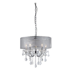 Warehouse of Tiffany - Crystal Pendant Lamp - Update your home or office with this attractive lighting fixture. This pendant features a gorgeous chrome finish for a timeless look. Includes 39 inches of chainMaterials: Metal and crystalCrystal Pendant LampSetting: IndoorFixture finish: ChromeNumber of lights: FiveRequires five (5) 40-watt bulbs (not included)Shade: 6 inches highDimensions: 16 inches high x 18 inches diameterThis fixture does need to be hard wired. Professional installation is recommended.CSA Listed, ETL Listed, UL Listed