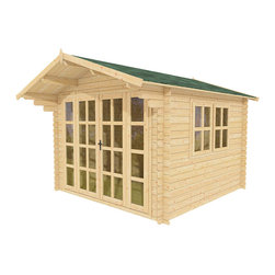 Joy 10 x 10 Wood Shed / Guest Cottage - ECO Garden Sheds. All natural wood 10 x 10 Tropical pool house / guest cottage -- Joy. 10 x 10 Wooden Shed with double door and long windows - Front view B.