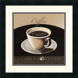 Amanti Art - Coffee Framed Print by L. Sala - Sweeten your decor with a stylized, steaming cup of coffee. Terrific for the kitchen, bistro or study, this tantalizing art print is a must-have for coffee lovers!