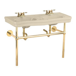 "Renovators Supply - Bone China Double Sink Console Belle Epoque 4 "" - Double Sink Bathroom: Belle Epoque double deluxe."