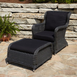 Alcee Resin Wicker Chair and Ottoman Set - This deep-seating chair and ottoman set is the perfect starting point for your outdoor living area.