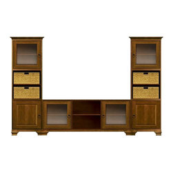 Howard Miller Custom - Owen Cabinet in w 4 Doors Saratoga Cherry - This cabinet is finished in Saratoga Cherry on select Hardwoods and Veneers, with Antique Bronze hardware. Simple Assembly required. Console:. 2 doors with plain Glass. 3 adjustable interior shelves. Tower:. 2 doors with plain Glass and 2 beveled panel doors. 6 adjustable interior shelves and 4 large woven baskets. Cove profile top and Ogee profile base. Hardware: ring pulls on doors. Features soft-close doors and metal shelf clips. Console: 70 1/4 in. W x 22 1/4 in. D x 29 1/2 in. H. Tower: 27 1/4 in. W x 17 in. D x 78 1/2 in. H