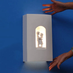Modern Sweet Love Carved Plaster  Wall Sconce -