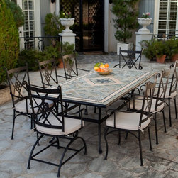 Belham Living - Belham Living Barcelona 42 x 84 inch Mosaic Patio Dining Set - Seats 8 Multicolo - Shop for Tables and Chairs Sets from Hayneedle.com! Additional features:Dining chairs: 19L x 22.5W x 40.25H inches (ea)Dining chair weight: 15 lbs. (ea)Spring chairs: 19L x 22.5W x 40.25H inches (ea)Spring chair weight: 20 lbs. (ea)Dining table: 84L x 42W inchesDining table weight: 200 lbs.Comfortable spacious chair seat and supportive diamond motif backTraditional Italian design for the modern homeEasy maintenance - wipes clean with mild dish soap and waterWater- and UV-resistant foam seat cushions wrapped in Dacron Umbrella hole for a standard 1.5-inch diameter umbrella poleTable top plug for use without an umbrellaEasy to assembleSeats 8 peopleAvailable exclusively on Hayneedle.com A work of art that doesn't eschew practical function the Palazetto Barcelona 42 x 84 in. Mosaic Patio Dining Set is sure to be a big hit at your family gathering or dinner party thanks to its classic Italian design and upscale appeal. And the best part is that since this dining set which includes a rectangular dining table six dining chairs and two spring chairs is exclusive only to Hayneedle.com you get all the compliments at almost half the price you'd be paying for a similar item in a retail store.Hand-laid mosaic tiles combine with hand-forged wrought iron to make a look that's decidedly eye-catching. Jewel-toned shades of blue and green are accented with beige and brown earth tones to bring a warm welcoming feel to your outdoor dining area. And because these tiles are hand-set each Barcelona table is truly one of a kind! Next the top is finished and sealed with an industrial-grade sealant called Fluorocarbon for superior protection. This means if the table top get wets the grout won't dry out and crack like traditional standard grout would. Wear and tear of elements over time may lead to blistering of the silicone top seal and natural aging of the tile materials giving the table an aged look.Built to last the hand-forged wrought iron table base and chair frames are dipped in a zinc-phosphate bath and then E-coated to help make a weather-resistant coating to delay the onset of rust. All wrought iron pieces are quality-checked for strength and durability while iron welds are ground for aesthetic appeal. Finally a powder-coated dark bronze finish is applied and baked onto the iron for stronger color and protection.Not to be outdone in the comfort department the chairs are generously proportioned and feature supportive diamond-motif backs gracefully curved legs and scrolled armrests. Beige seat cushions with chair ties will envelop you in luxurious comfort inviting you to linger at the table long after the dishes have been cleared. The seat cushions are foam-wrapped in Dacron. Inner cover is a white polyester bag and outer fabric cover is a polyester-cotton mix which is water- and UV-resistant. You'll also love the fact that the dining table has an umbrella hole so you can pair it with a standard patio umbrella (1.5-inch-diameter pole) on particularly hot days. It also comes with a plug for the table top for when an umbrella is not being used.About PalazettoBlending the lines between interior and exterior decor Palazetto furnishings are designed to bring the indoors out. Palazetto believes alfresco living should be enjoyed by all and they center this belief on beautiful cast aluminum and wrought iron pieces and stunning outdoor mosaics designed to warm your patio and soothe your senses.The Palazetto collection is available at almost half the price you'd pay for something similar in a retail store so you may be surprised to learn that all mosaic table tiles are hand-set. They're then grouted with industrial adhesives for maximum durability and sealed with an industrial-grade sealant called Fluorocarbon for superior protection. And quality mosaic table tops aren't the only thing they can boast about. Each piece in the Palazetto aluminum and wrought iron collections feature the highest quality construction from rust-proof materials to fully welded joints to weather-resistant powder-coat finishes. You'll be enjoying these sets for years as they can withstand extended outdoor exposure in any climate in any season.So gather up your family and head to the backyard for some quality time around quality furniture. With Palazetto you'll quickly find you're as comfortable here as you were inside.