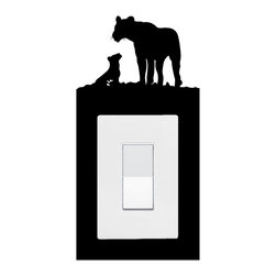 StickONmania - Lightswitch Lions Sticker - A vinyl sticker decal to decorate a lightswitch.  Decorate your home with original vinyl decals made to order in our shop located in the USA. We only use the best equipment and materials to guarantee the everlasting quality of each vinyl sticker. Our original wall art design stickers are easy to apply on most flat surfaces, including slightly textured walls, windows, mirrors, or any smooth surface. Some wall decals may come in multiple pieces due to the size of the design, different sizes of most of our vinyl stickers are available, please message us for a quote. Interior wall decor stickers come with a MATTE finish that is easier to remove from painted surfaces but Exterior stickers for cars,  bathrooms and refrigerators come with a stickier GLOSSY finish that can also be used for exterior purposes. We DO NOT recommend using glossy finish stickers on walls. All of our Vinyl wall decals are removable but not re-positionable, simply peel and stick, no glue or chemicals needed. Our decals always come with instructions and if you order from Houzz we will always add a small thank you gift.