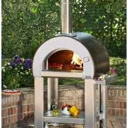 Alfa Forno 5 Wood Fired Pizza Oven - You'll be ready to cook in just five minutes with the Alfa Forno 5 Wood Fired Pizza Oven. This top-of-the-line wood-burning oven reaches temperatures of over 572 ° Fahrenheit thanks to a brilliantly insulated design that retains heat for maximum efficiency all while staying cool to the touch on the outside! This extra wide steel cabinet is big enough to hold up to 2 large pizzas at once and features tall shimmering chimney decorative door with wooden handle built-in thermostat and mobile cart with storage platform. The wheeled base of this professional-quality oven makes it ideal for transporting your pizza station around the house and out onto the lawn. Measures 30.7W x 26.8D x 74.8H inches and comes in your choice of copper orange or red finish. About Alfa PizzaAlfa Pizza is has been giving homes and businesses around the world the ability to create their own authentic Italian dishes since 1977. This large manufacturing company based out of Italy has a network of over 4 000 qualified dealers that distribute some of the best brick and refractory products on the market. Fireplaces stoves siding barbecues grills pellet stoves and more are all part of the Alfa brand. Alfa is dedicated to bringing you the best in wood-oven technology at an affordable price.
