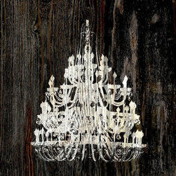 Suzanne Powers - Chandelier On Rustic Wood, White on Black - White Chandelier On Rustic Dark Wood