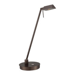 George Kovacs Lighting - Modern LED Task / Reading Lamp in Copper Bronze Patina Finish - P4316-647 - Efficient and utilitarian, this minimalist reading lamp should be at home on the desks of architects and writers alike. With a built-in dimmer and adjustable pivot, this LED lamp by George Kovacs lets you control the light. Standing 19 inches tall in a copper bronze finish, with a width of 6-1/4 inches. Takes (1) 8-watt LED bulb(s). Bulb(s) included. Dry location rated.
