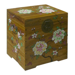 Golden Lotus - Chinese Flower Hand Paint Camphor Wood Chest Trunk Coffee Table - This is a Chinese traditional chest which is made of camphor wood, and it was used to store clothes in China long time ago.  Especially, the outside of trunk has flower hand painting decorated on it.  Right now, you can use as a coffee table.