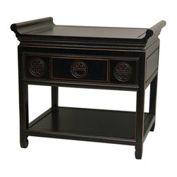 "Oriental Furniture - 22"" Rosewood Altar Table - Antique Black - These are uniquely elegant nightstands or end tables, made from fine quality kiln dried Rosewood, in an authentic Asian style decorative design. Sturdy, solid, built to last, with a convenient top drawer for bedside necessities, as well as a large open shelf at the bottom for books or crafts. The ""winged"" edges are a design element once thought to attract positive ""Chi"" to the household and its occupants. In modern Asia, they're part of a heritage of exceptionally durable and beautiful home furnishings, crafted to the exacting standards of ancient oriental cabinetry. Crafted in a small wood working cooperative of master craftsman in southern Guangzhou."