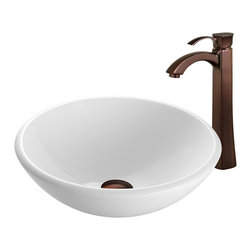 Vigo Industries - Phoenix Stone Glass Vessel Sink with Oil Rubbed Bronze Faucet - The VIGO White Phoenix Stone Glass Vessel Sink with stylish Oil Rubbed Bronze Faucet will bring a traditional look to your bathroom. The VG07039 white vessel bowl features a smooth rounded edge and combines the durability and natural aesthetics of granite, marble, ceramic and glass. Water pressure tested for industry standard. This VIGO vessel bowl and faucet set is cUPC and NSF-61 certified by IAPMO.
