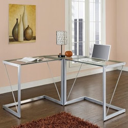 Walker Edison Glass Metal Cable Frame Corner Computer Desk - Silver - The gorgeous Walker Edison Glass Metal Cable Frame Corner Computer Desk - Silver may even help streamline your work with its sleek design. The spacious, open top offers optimal work space while its L-shaped design provides a corner wedge for space-saving needs. The thick, tempered safety glass and powder-coated steel together create a solid construction with a look that is both attractive and simple.About Walker EdisonSpecializing in quality furniture at low prices, Walker Edison Furniture Company manufactures a wide variety of furniture pieces for the North American marketplace. From bedroom furniture and desks, to coffee tables, dining tables, and TV stands, Walker Edison provides practical decor solutions for today's functional homes. With factories strategically located all over the world, Walker Edison balances cost with low-priced raw materials and skilled artisans to deliver smart furniture pieces that fit every budget.This item carries a 1-year warranty against structural failure, provided the furniture is assembled correctly, is subjected to normal use.