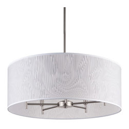 Lights Up! - Walker 5 Arm Chandelier -Drum Shade, Brushed Nickel Base, Optical Poly Film - Fill your room with elegant light from a modern drum chandelier. Five bulbs will illuminate from within a sophisticated optical poly film shade. All you need to do is choose between brushed nickel and black hardware.