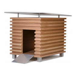 Chalet : luxury dog house - The Chalet dog house is an innovative design of Chiavari's FORMA Italia luxury furniture brand. Structured in solid wood and marine plywood, with an aluminum ramp and feet. Inner roof can be opened with a flap door allowing optimum ventilation while external stainless steel roof still provides protection from rain and sunlight.