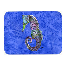 Caroline's Treasures - Seahorse  Kitchen Or Bath Mat 20X30 - Seahorse Kitchen / Bath Mat 20x30 - 20 inches by 30 inches. Permanently dyed and fade resistant. Great for the Kitchen, Bath, outside the hot tub or just in the door from the swimming pool.    Use a garden hose or power washer to chase the dirt off of the mat.  Do not scrub with a brush.  Use the Vacuum on floor setting.  Made in the USA.  Clean stain with a cleaner that does not produce suds.