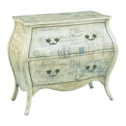 Hammary - Hammary 090-332 Hidden Treasures Script Bombe Chest - The epitome of romantic design, this chest will make a lovely addition in your foyer, living room, bedroom or four season porch. The bombe silhouette and curved apron creates a timeless, feminine feel that will bring elegance to any space. Traditional bail hardware graces the front of Two drawers adding to the overall traditional appeal. Pulling the piece all together is a light, script finish reminiscent of past calligraphy styles. With a look from the past and a design for modern living, this chest will become a favorite item in your home.
