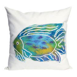 """Trans-Ocean Inc - Batik Fish Aqua 20"""" Square Indoor Outdoor Pillow - The highly detailed painterly effect is achieved by Liora Mannes patented Lamontage process which combines hand crafted art with cutting edge technology. These pillows are made with 100% polyester microfiber for an extra soft hand, and a 100% Polyester Insert. Liora Manne's pillows are suitable for Indoors or Outdoors, are antimicrobial, have a removable cover with a zipper closure for easy-care, and are handwashable.; Material: 100% Polyester; Primary Color: Aqua;  Secondary Colors: blue, green, purple, white; Pattern: Batik Fish; Dimensions: 20 inches length x 20 inches width; Construction: Hand Made; Care Instructions: Hand wash with mild detergent. Air dry flat. Do not use a hard bristle brush."""