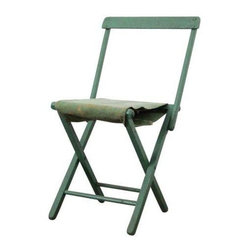 """Used Vintage Camp Chair - This Vintage Camp Chair has a Wood Frame that can also be used as a backless stool. Painted a soft, seafoam or mint green.  It appears that the original seat split in half, and was replaced with a stitched, soft green grain sack. Golden discoloration of tone in the sack.  In good condition. Not the sturdiest stool/chair in the book, but usable.     Measurements  29.5"""" Height  16"""" Seat Height  13"""" Seat Width  16.75 Width back  14"""" Seat Depth"""
