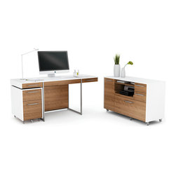 Format Office - Engineered for today's workplace, FORMAT's design is elegant and modern. The collection includes a woodtopped desk, a mobile file pedestal and a versatile mobile credenza with storage space for a printer, hanging files and other supplies. With satin nickel-plated steel details, FORMAT is available in two finishes: a striking combination of Natural Walnut/Satin White or a classic Black Stained Oak.