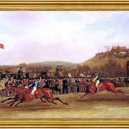 """James Pollard-16""""x24"""" Framed Canvas - 16"""" x 24"""" James Pollard Vivian, Lady Emily and Wallington at the Finish of The Hunter's Stakes at Worthy Down, Winchester in July 1835 framed premium canvas print reproduced to meet museum quality standards. Our museum quality canvas prints are produced using high-precision print technology for a more accurate reproduction printed on high quality canvas with fade-resistant, archival inks. Our progressive business model allows us to offer works of art to you at the best wholesale pricing, significantly less than art gallery prices, affordable to all. This artwork is hand stretched onto wooden stretcher bars, then mounted into our 3"""" wide gold finish frame with black panel by one of our expert framers. Our framed canvas print comes with hardware, ready to hang on your wall.  We present a comprehensive collection of exceptional canvas art reproductions by James Pollard."""